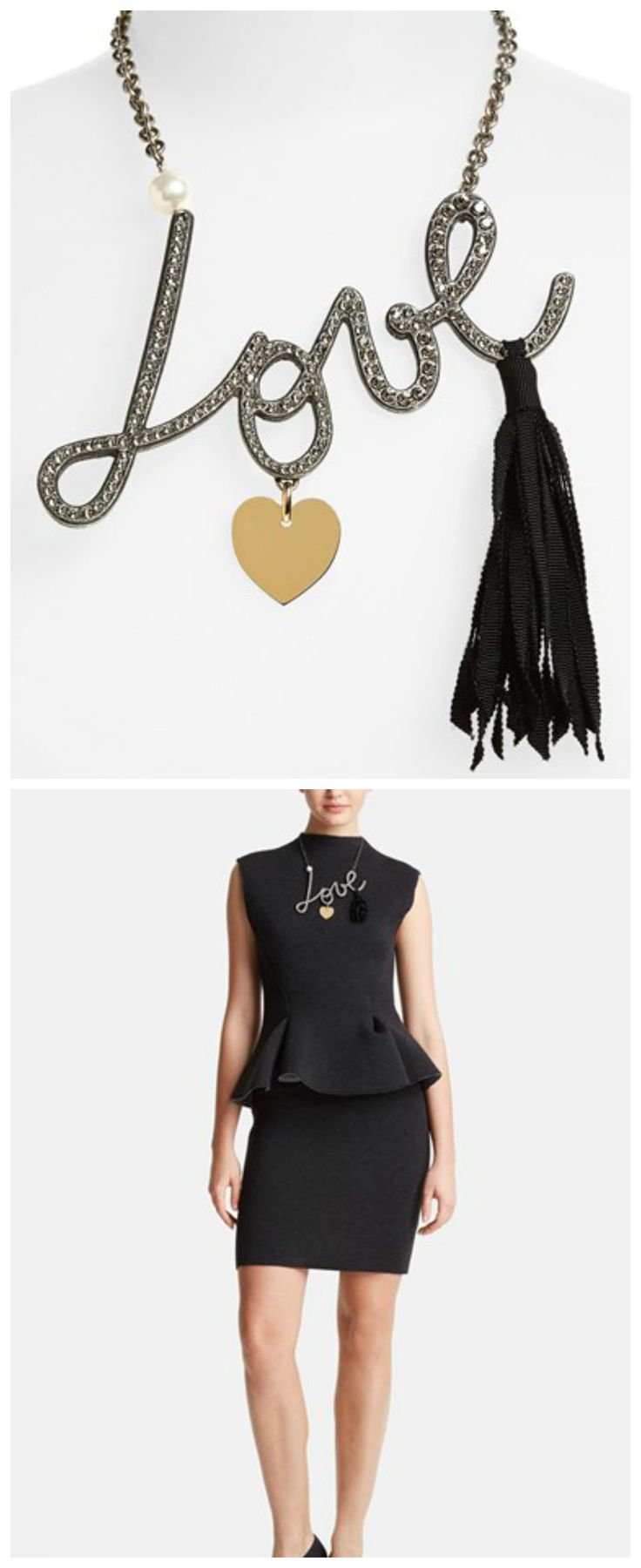 Absolutely love how this sparkly statement necklace stands out on this classic cut peplum dress | Lanvin