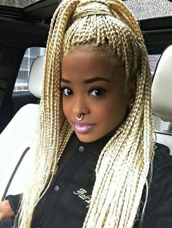 blonde braids on dark skin