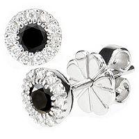 Diamantøredobber med sorte og hvite diamanter - Storia D'amore Sorte Diamanter