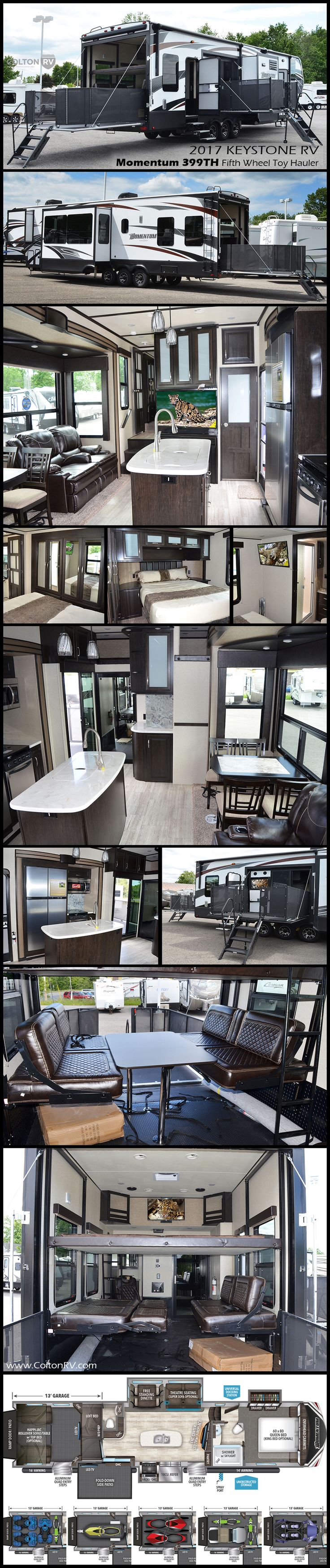 You can pack a whole lot of fun into this Momentum 399th Fifth Wheel Toy Hauler by Grand Design! There is so much sleeping space for a few extra buddies to tag along, one and a half baths, a fireplace fold down side patio, plus so much more. With 13' of toy parking space in the garbage, you can take it all. The bath includes a large shower with skylight, linen cabinet, toilet and vanity with vessel bowl sink.