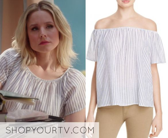 """by Kirsty0 Comments Eleanor Shellstrop (Kristen Bell) wears this off shoulder striped top in this episode of The Good Place, """"Dance Dance Resolution"""". It is the Joie Amesti B Top."""