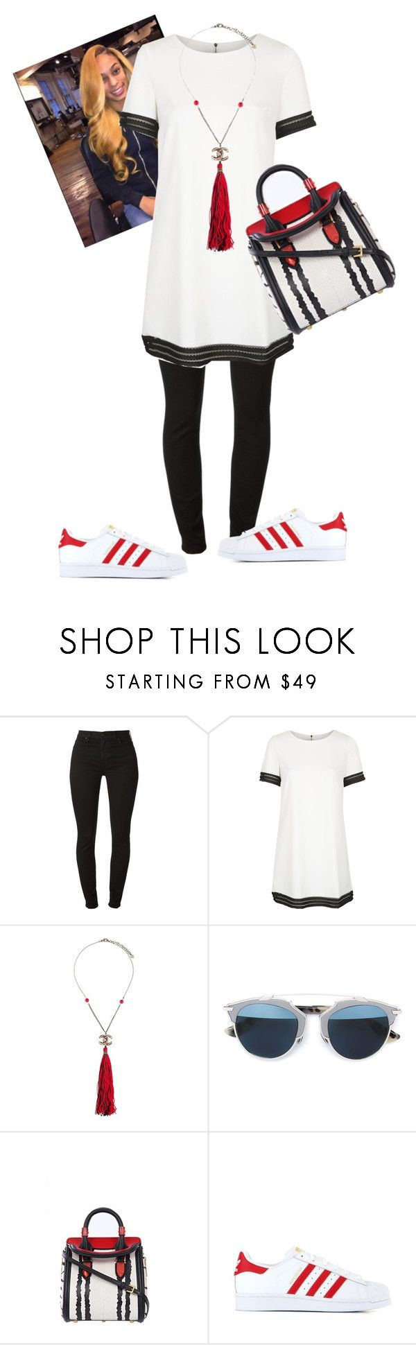 """""""Untitled #512"""" by cogic-fashion ❤ liked on Polyvore featuring 7 For All Mankind, Rare London, Chanel, Christian Dior, Alexander McQueen and adidas Originals"""