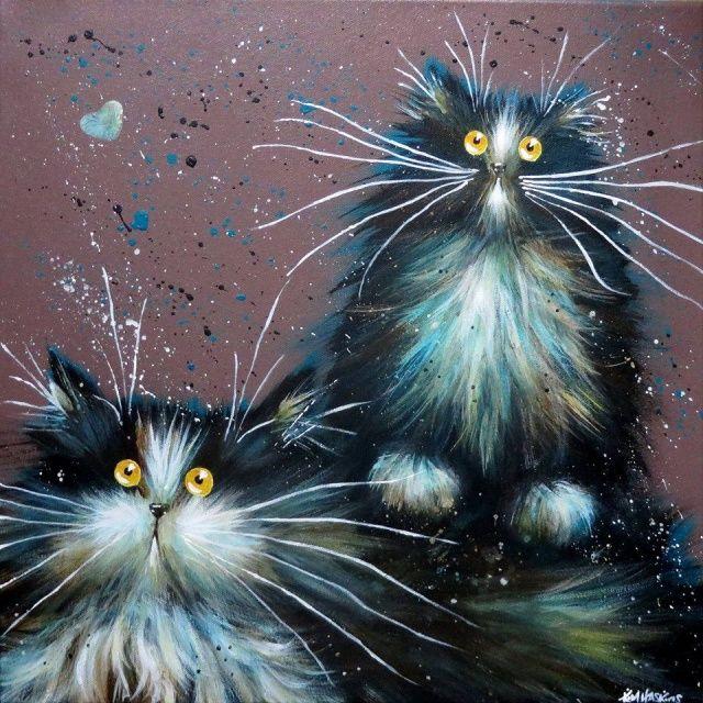Cat, Cat Art, Cat Painting. Artist Kim Haskins