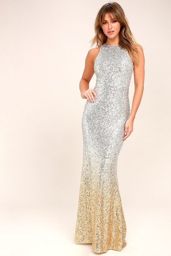 ec277a008864 Lulus Exclusive! Let yourself shine in the Infinite Dreams Gold and Silver  Ombre Sequin Maxi Dress! Shiny silver sequins sparkle as they transition to  a ...