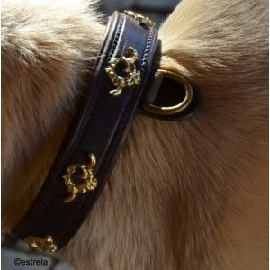 Dog collar made of full grain Kobel®cowhide, lined with soft nappa leather.The buckles and fittings are stainless steel or solid brass.In this case, typical Portuguese Cortezia fittings are incorporated.  Natural, brown or black leather, silver or gold fittings.The width is 3.5 cm, made to measure for your dog.