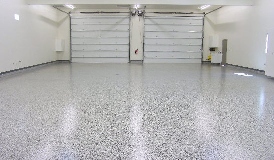"This Epoxy Chip work is a high performance seamless floor made up of two part epoxy resins and colored acrylic chips. It is also coated with a high gloss abrasion and chemical resistant polyurethane. Because of the amazing durability and endless decorative applications, such as garage floors, patio decks, retail stores, office spaces, warehouses and more, this ""Granite Look"" floor is a popular choice."