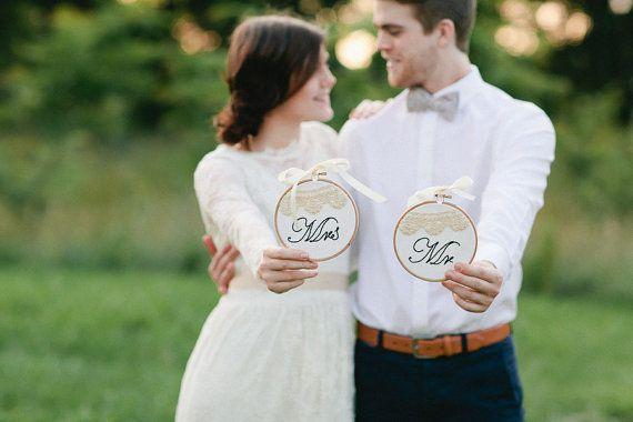 Signor & Signora matrimonio segno all'uncinetto di HoopsyDaisies
