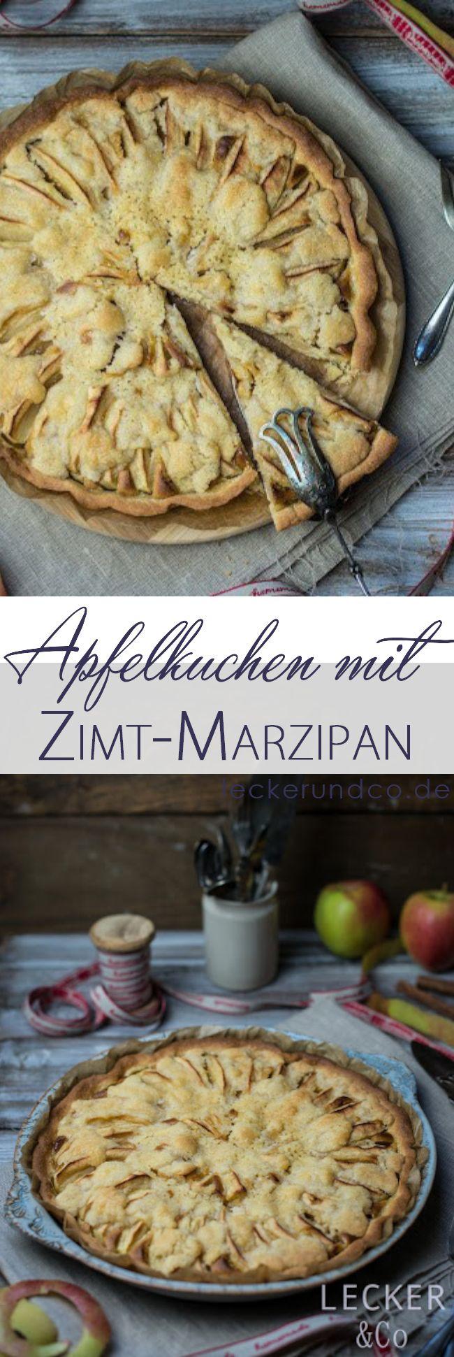 Apfelkuchen mit Streuseln und Zimt-Marzipan