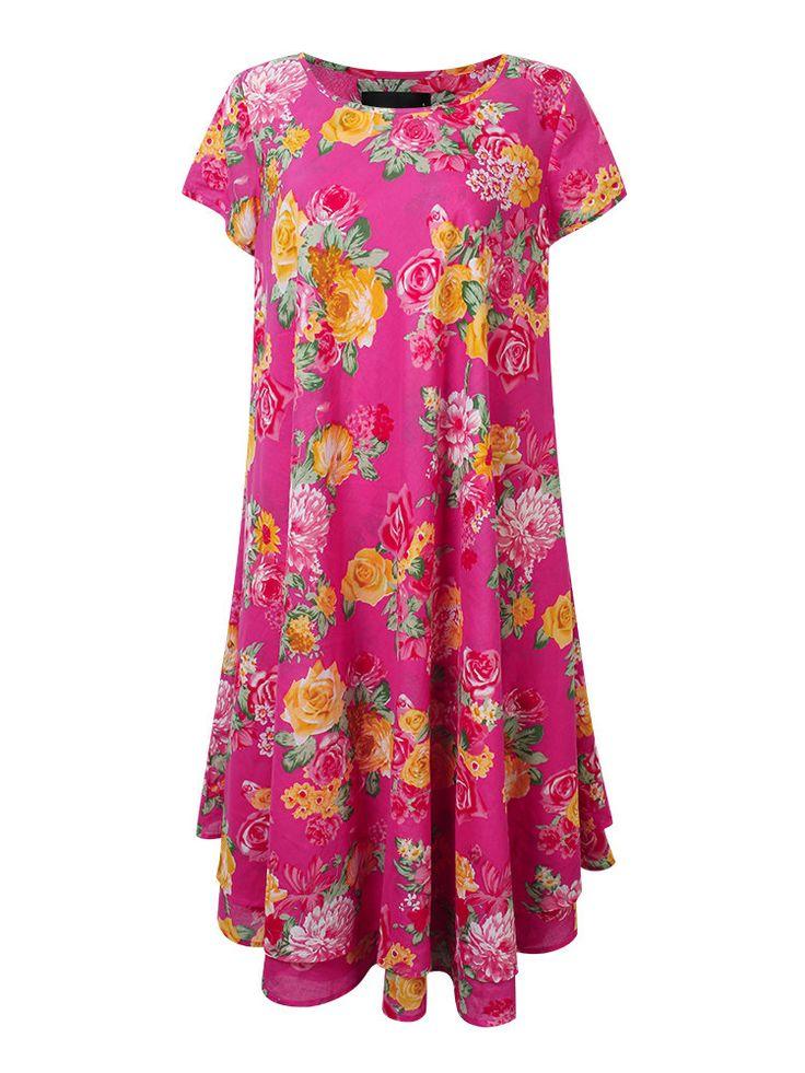 Casual Women Flower Printing High Low Swing Dress