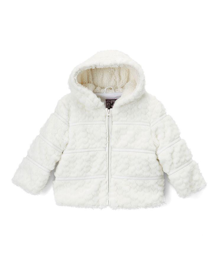 Ivory Heart Faux Fur Peacoat - Infant Toddler & Girls
