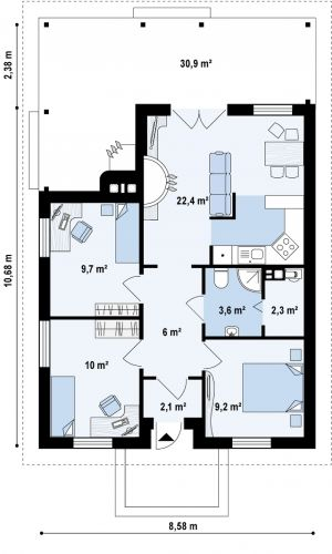 Casa mica cu parter cu 3 dormitoare