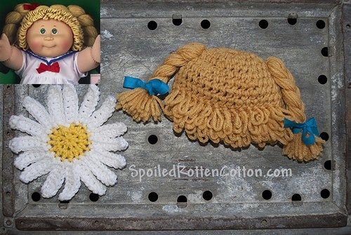 Handmade Crocheted Cornmeal Blonde Cabbage Patch Inspired Wig/Hat: Excellent Halloween costume accessory!  This hat will fit 12 months-3T (please visit other listings for other sizes) Hat/Wig is hand