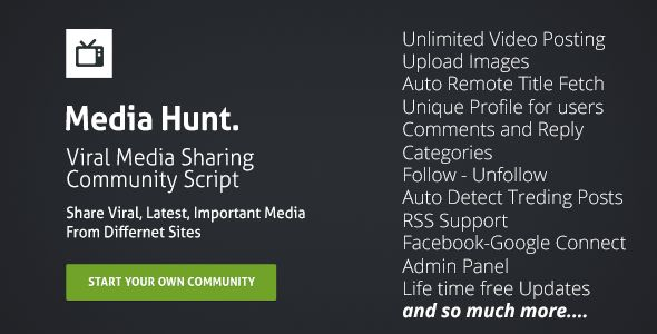 Media Hunt : Community Script #viral media sharing script