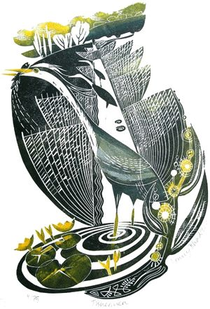Fishermen  linocut by Penny Bhadresa love the strong bold cutting of her work.