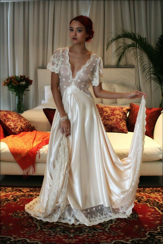 Amelia Satin Bridal Nightgown Embroidered Lace Wedding Lingerie Bridal Sleepwear Champagne Satin Bridal Gown Trousseau Sleepwear Honeymoon