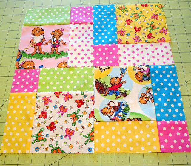 The Cottage Home: Berenstain Bears Disappearing Nine Patch Quilt Block Tutorial and Giveaway