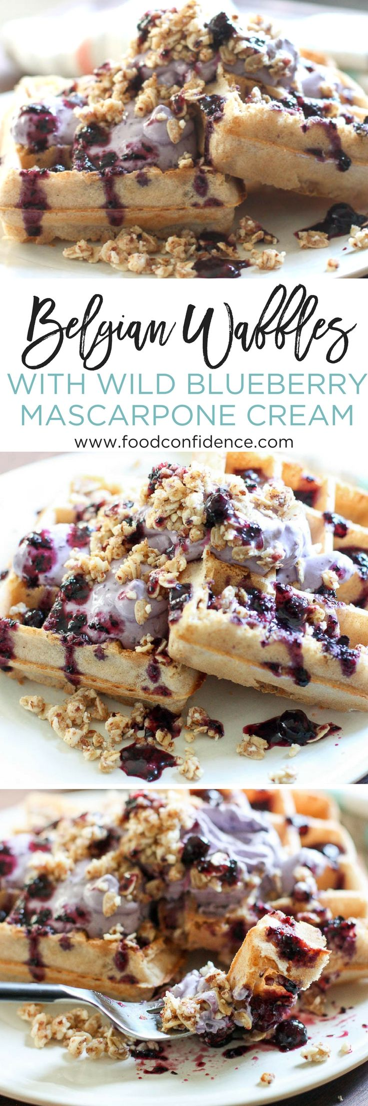 These decadent, delicious Belgian Waffles with Wild Blueberry Mascarpone Cream are perfect for impressing guests or treating yourself to a fancy breakfast. The fluffy, crispy waffles topped with rich and creamy mascarpone and crunchy no-bake granola will be your new favorite brunch recipe.  | easy waffle recipe | belgian waffle recipe | best brunch recipes |