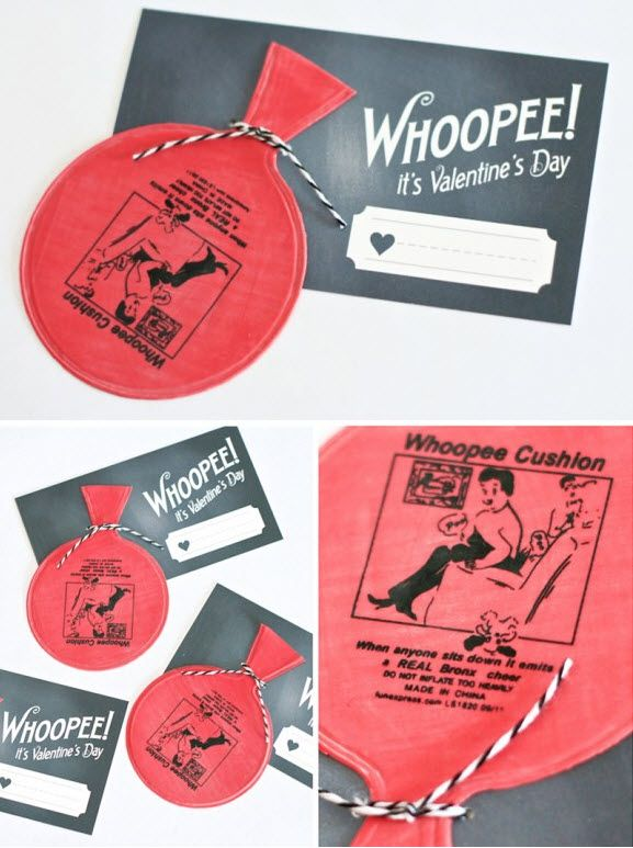 Whoopee Cushions for Valentine's Day! This seems more cute and appropriate for young kids v-day.