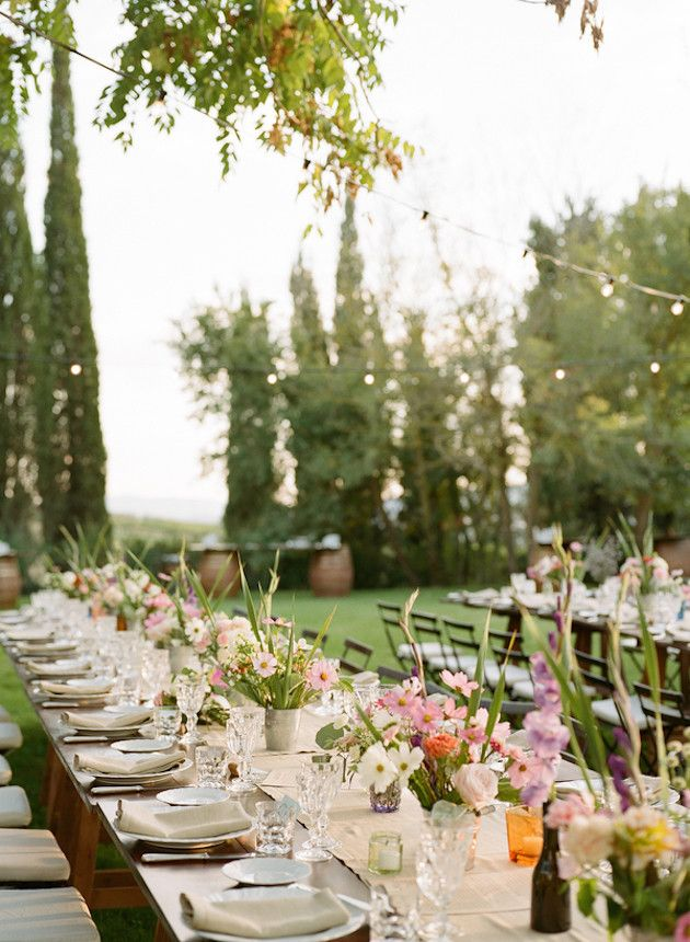 Adorn your spring wedding with string lights to set a romantic mood.