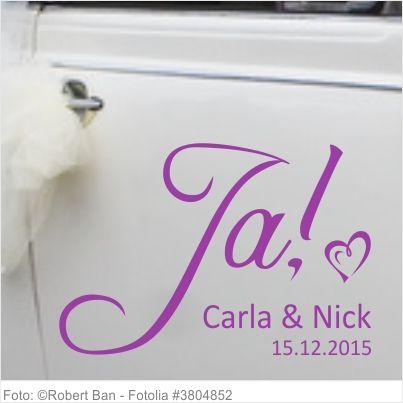 Autoaufkleber Hochzeit Ja mit Vornamen und Datum 05