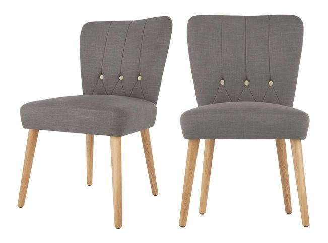 2 x Charley Dining Chairs, Graphite Grey and Oak
