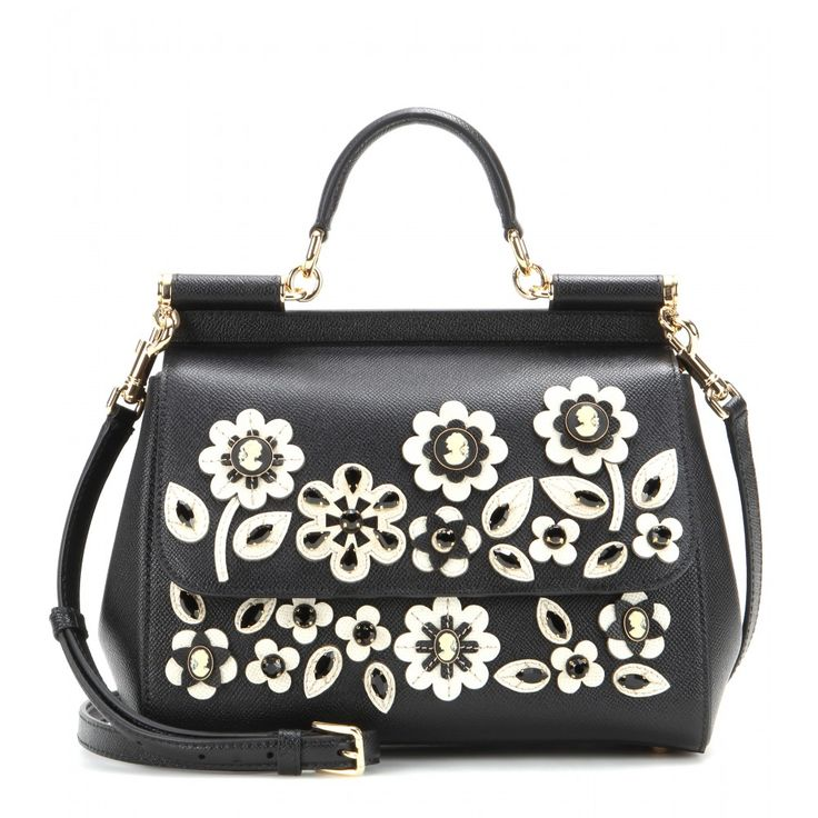 Dolce & Gabbana - Miss Sicily embellished leather shoulder bag - Dolce & Gabbana's signature 'Miss Sicily' tote is given a chic, vintage-style finish with its floral and crystal embellishment for an ultra-feminine finish. Practical with its detachable shoulder strap and cotton lining, this charming design will add a dose of whimsy to a sophisticated outfit. seen @ www.mytheresa.com
