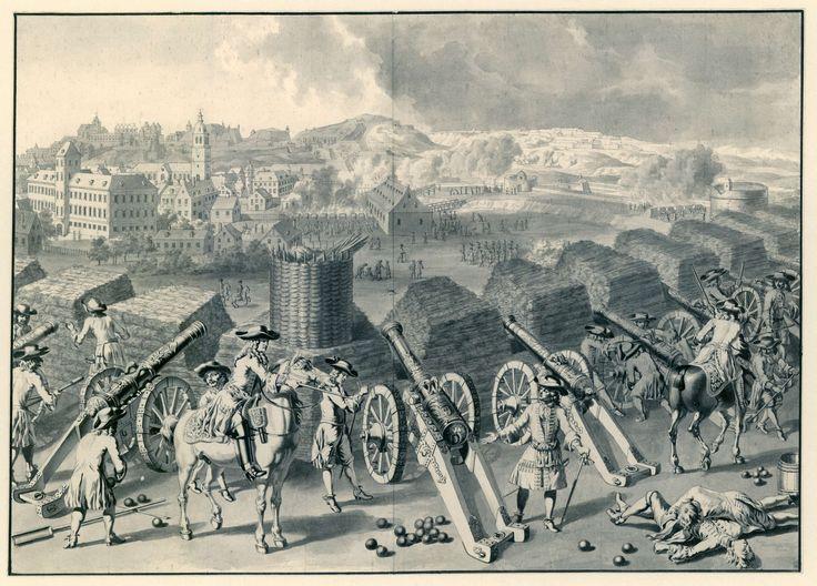 Dirk Maas | Beleg van Namen, 1695, Dirk Maas, 1695 | Het beleg van Namen in de zomer van 1695 door de Geallieerden onder Willem III. Gezicht achter de geallieerde linies van het beschieten van de stad met kanonnen. Rechtsonder liggen de lichamen van enkele gesneuvelde soldaten; links een officier te paard.