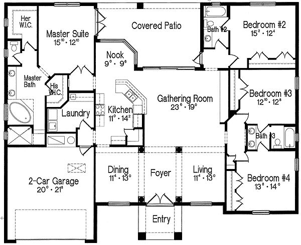 Plan 4293mj split bedroom one story living master suite for Split bedroom floor plans