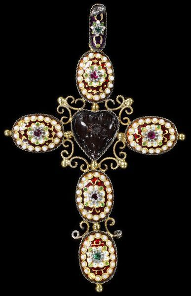 Cross      Place of origin:      Paris, France (made)     Date:      ca. 1870 (made)     Artist/Maker:      ydot (maker)     Materials and Techniques:      Silver-gilt with enamels and pastes