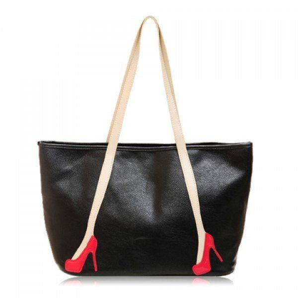 Stylish Pumps Print and Rivets Design Women's Shoulder Bag