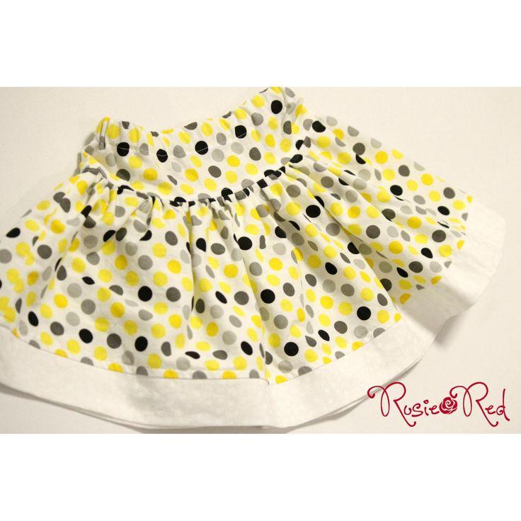 $30.00 SIZE 2 Yellow Spot twirly skirt with contrast hem by RosieRed on Handmade Australia
