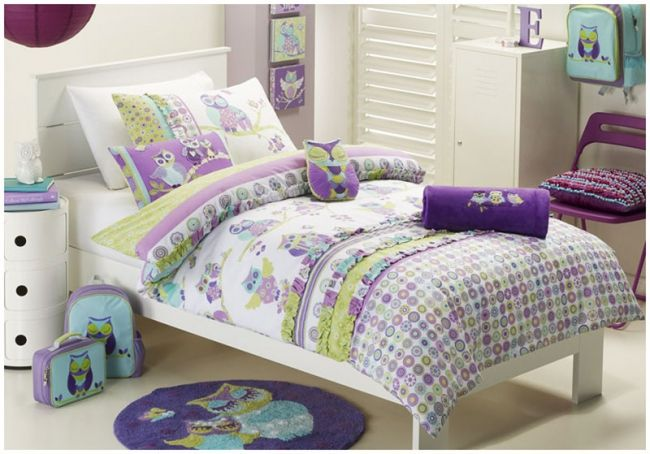 Owl themed bedding sets for purple kids girls bedroom for Bedding sets near me