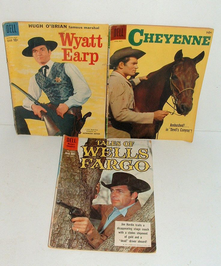 1950s TALES OF WELLS FARGO , CHEYENNE AND WYATT EARP TV SHOW COMIC BOOKS