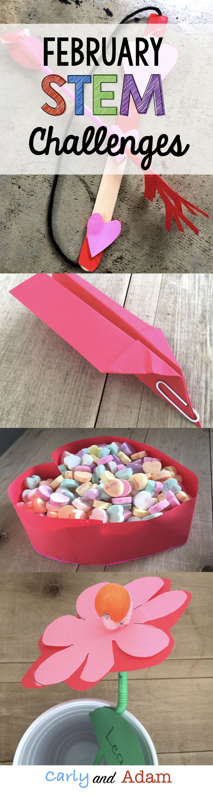 Students will complete four February Valentine's Day themed STEM Challenges. (design a bow and arrow for Cupid, design a candy box, design a paper airplane to deliver Valentine's, and design a flower)