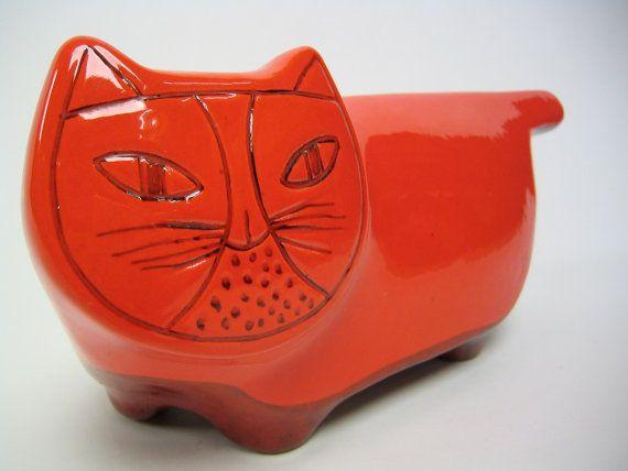 Rare vintage Italian Baldelli pottery cat by hermanmillermodern
