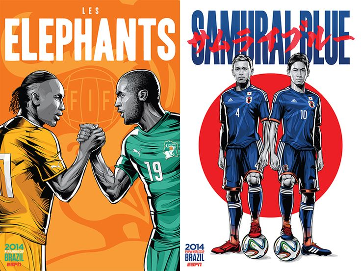 Carteles de ESPN para el mundial de fútbol de Brasil | OLDSKULL.NET