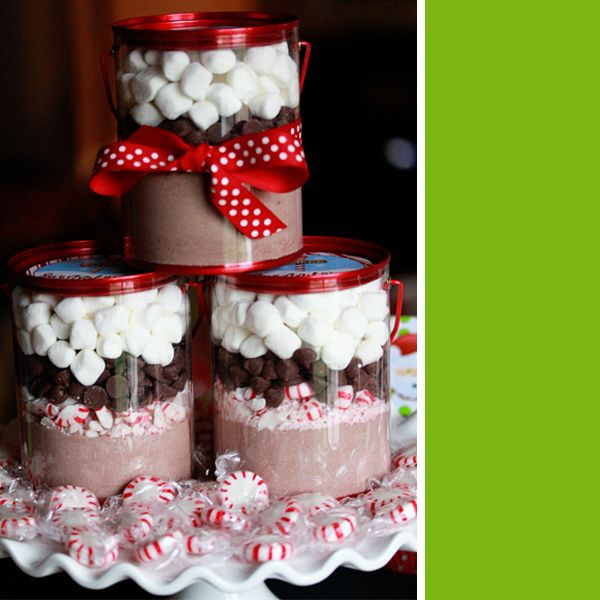 Cute teacher gift.. hot chocolate, crushed peppermints, chocolate chips and marshmallows.