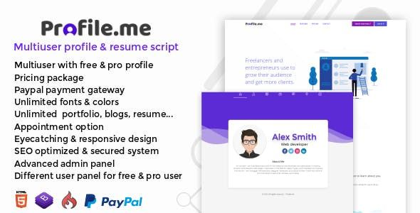 Profile Me Multiuser Profile Amp Resume Script Nulled Free Download Resume Script Web Design