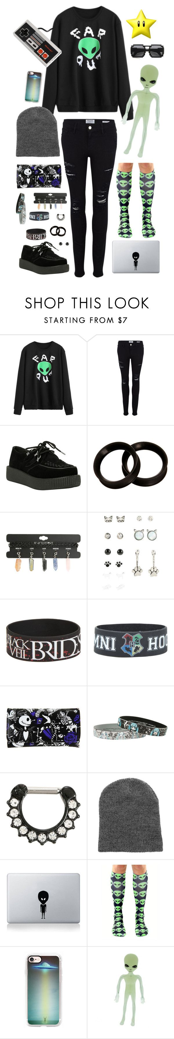 """alien?¿"" by plantttboy ❤ liked on Polyvore featuring Frame, T.U.K., Disney, Vinyl Revolution, Casetify, ZeroUV, Nintendo, emo, hottopic and space"