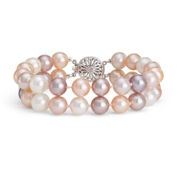 Blue Nile Double-Strand Pink Freshwater Cultured Pearl Bracelet ($525) ❤ liked on Polyvore featuring jewelry, bracelets, pink bangles, cultured pearl jewelry, fresh water pearl jewelry, 14 karat gold jewelry and blue nile jewelry