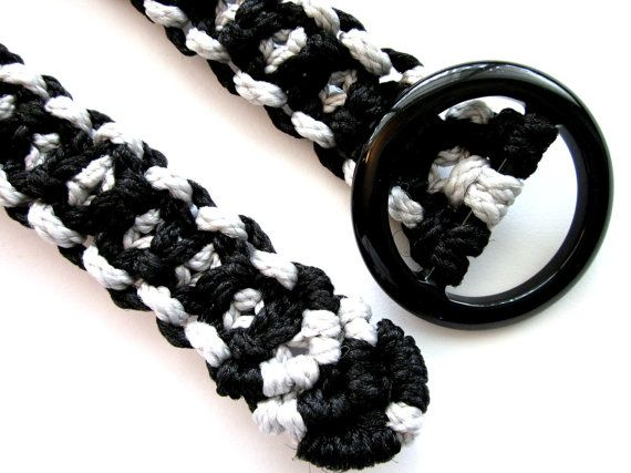 For 10% off entire shop - use Coupon Code PIN10 - Black and Gray Macramé Belt  Retro  1 inch wide and 4044 by Balilu, $23.00