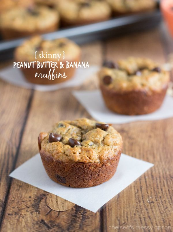 Peanut Butter, Chocolate, & Banana Muffins - NO butter, oil, flour, or white sugar! So light and delicious!