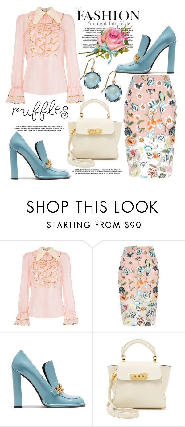 """""""Ruffles"""" by hastypudding ❤ liked on Polyvore featuring Gucci, River Island, Mulberry, ZAC Zac Posen and Suzanne Kalan"""