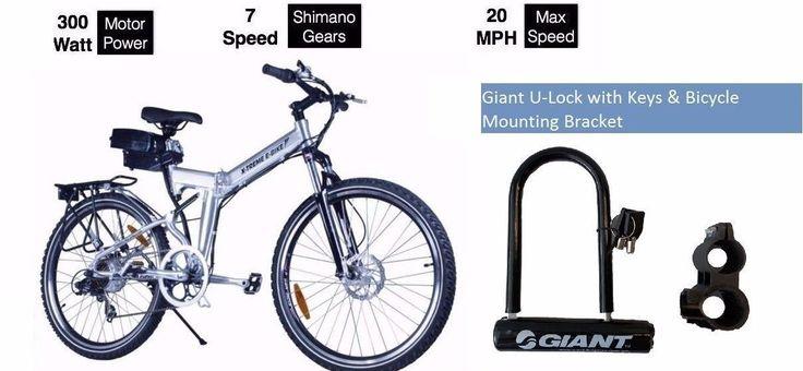 X-Treme X-Cursion Electric Bike-Aluminium w/ Giant U-Lock w/ Keys&Mount Bracket