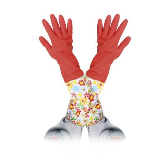 Gino Pair Colors Latex Oversleeves Design Long Cuff Red Working Cleaning Gloves by Gino. $5.79. Red gloves colors oversleeve design, ideal for household cleaning. Protect fingers, palm, wrist, arms from possible hurts in some working situations. Can be used for industry or household washing and cleaning.