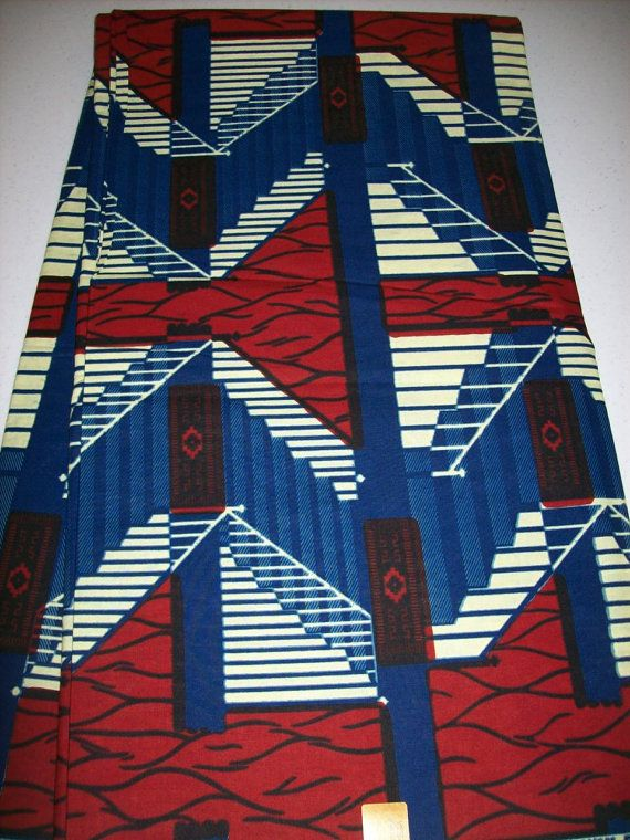 Ønskes 2 meter!  African fabric per yard Red, white blue color/ African print fabrics/ Trendy wax print fabrics/ African Maxi Skirt fabric