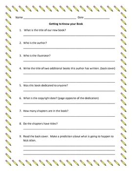 Frindle getting to know your book freebie