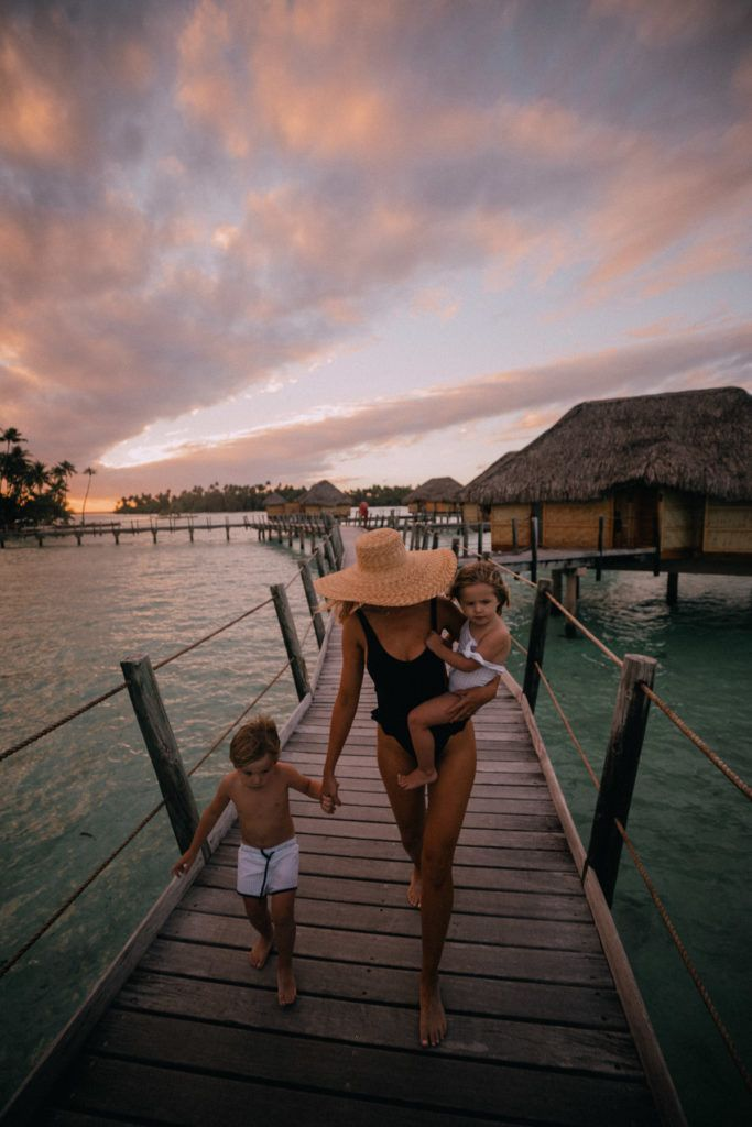 Tahiti Travel Diary Image Of Amber Walking With Rosie And Atticus