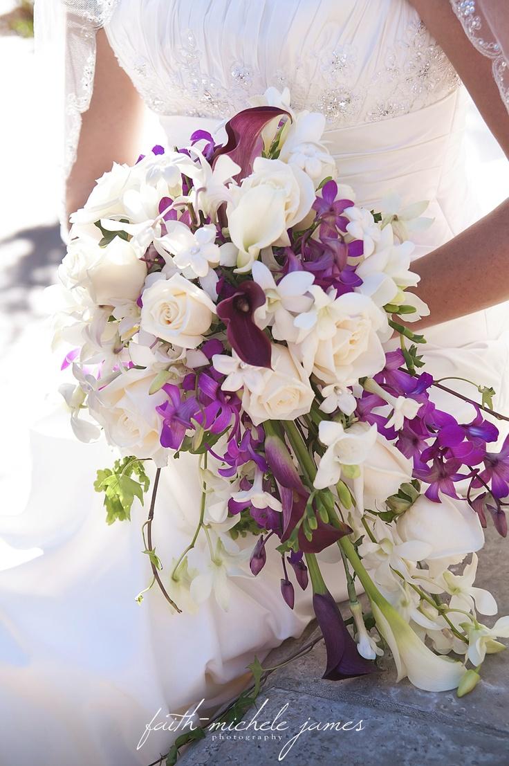 White and purple cascade bouquet  www.faith-michele.com