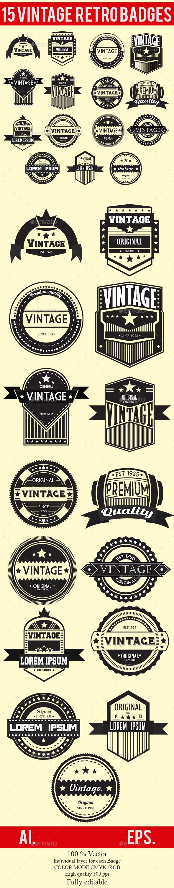 15 Vintage Retro Badges Set 1 - Badges & Stickers Web Elements